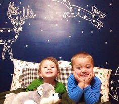 Awesome animal constellation mural for kids room