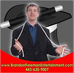 HIRE Magician Brandon Freeman for your Company Anniversary He is a professional party magician in Baltimore, Maryland CALL (443) 630-9007 for bookings and inquiries!
