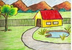 Simple Landscape Sketches For Kids Easy Scenery For Drawing Competition Scenery . Simple Landscape Sketches For Kids Easy Scenery For Drawing Competition Scenery Drawing For Kids In Landscape Drawing For Kids, Nature Drawing For Kids, Easy Scenery Drawing, Landscape Sketch, Easy Drawings For Kids, Landscape Drawings, Painting For Kids, Landscape Paintings, Art For Kids