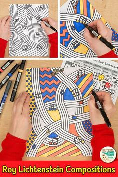 Learn art history while creating a Roy Lichtenstein musical composition. Fill up your art sub plan f History Lessons For Kids, Art Lessons Elementary, Game Art, Roy Lichtenstein Pop Art, Pop Art For Kids, Art Sub Plans, 6th Grade Art, Pinup Art, Middle School Art