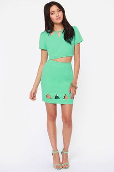 Point Blank Cutout Mint Green Skirt at LuLus.com!