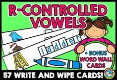 #R-CONTROLLED #VOWELS: #WRITE AND #WIPE CARDS: 57 CARDS: #LITERACY #CENTER ar er ir or ur  This hands-on fun pack, containing 57 task cards, is an ideal resource for your Literacy Center. What a fun way to teach writing r-controlled vowel words! The words included are decodable. Children have to name the picture, sound out the word and write it with a dry-erase marker! A list of all the words are available.  I have also included bonus word walls cards accompanied by pictures.
