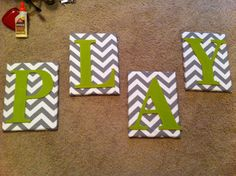 letter canvases. playroom decor