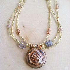 Gypsy Jewelry Beaded Necklace Gold and Copper by TheCrystalJypsy
