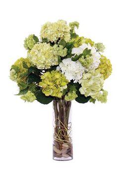 Hydrangea and Vine Faux Flower Arrangement