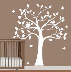 babies nursery tree wall decal - tree silhouette with butterflies,owls & birds -  wall sticker vinyl. $106.00, via Etsy.