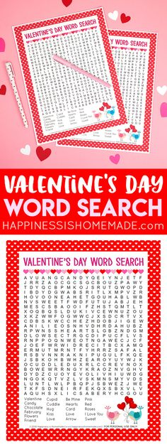This sweet Valentine's Day Word Search printable puzzle is a ton of fun for kids of all ages! Perfect for teachers, families, classroom parents, Scout leaders, and more! Kids and adults alike will love this printable Valentine's Word Search! via @hiHomemadeBlog