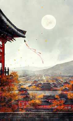 Scenic temple and town art. Overlooking small town with misty mountains and a full moon.