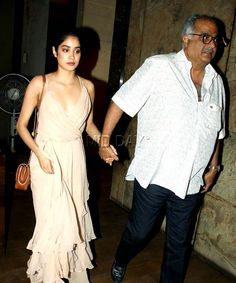 Jhanvi Kapoor with father Boney Kapoor at #Mirzya screening. #Bollywood #Fashion #Style #Beauty #Hot #Sexy