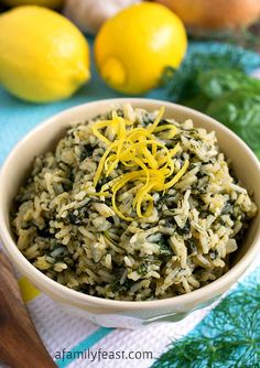 A simple, flavorful Greek Rice recipe, also known as Spanakorizo. The flavors are fresh and delicious!