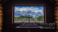 Inside Looking Out by Debra Martz The interior of the Chapel of the Transfiguration Grand Teton National Park Wyoming