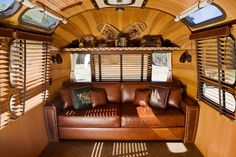A 1977 Airstream International Sovereign trailer redesigned by Craig Dorsey. Find more at: http://impressivemagazine.com/2013/07/13/5-old-airstream-trailers-beautifully-restored/ #airstreamtrailers