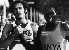 Alberto Juantorena of Cuba (left) and Mike Boit of Kenya after their 800m race in Zurich, which Juantorena won. Original Publication: People Disc - HF0571