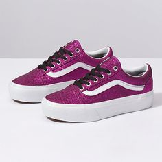 6afe9261c9 The Glitter Old Skool Platform combines the classic Vans sidestripe skate  shoe with glittery textile uppers