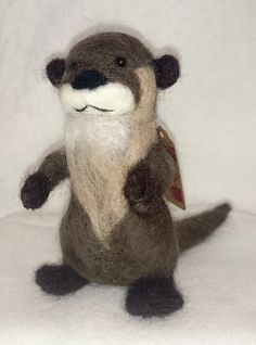 Hand needle felted River Otter (2015) made from Merino and Corriedale wools by Holly Boone of Polar Lights Art Studio