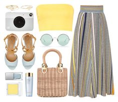 """Basket Bag"" by monmondefou ❤ liked on Polyvore featuring Salvatore Ferragamo, Boohoo, GUESS, Sunday Somewhere, Kodak, Maya Brenner Designs, Jennifer Meyer Jewelry, RMK, Estée Lauder and yellow"