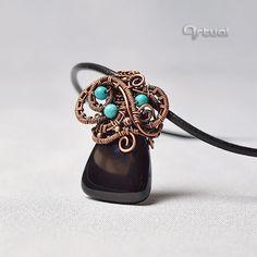 Wire wrap pendant wire jewelry copper jewelry copper by Artual