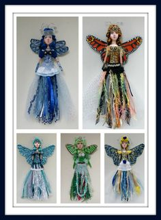 Linda Walsh Originals Dolls and Crafts Blog: My Tassels & Tiaras: A Winged Wonders Doll Projects Artful Gathering Class - Butterfly Dolls