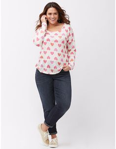 dab14277d5020 Infinite Stretch crepe wide leg pant. Plus size patterned tee by Lane Bryant