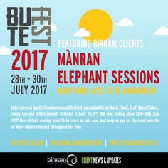 ICYMI: ButeFest announced their first batch of acts for 2017 last week, including Birnam clients Mànran and Elephant Sessions. Tickets and more info available from http://www.butefest.co.uk/