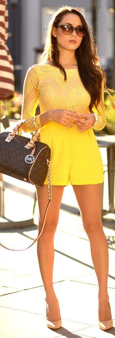 ♥Bright Yellow Lace Detail Romper by Hapa Time