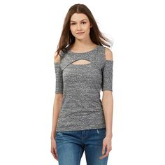 Grey ribbed cut-out should and chest top