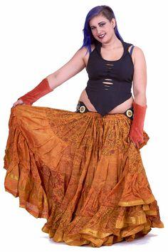 XL Belly Dance Skirt, plus size hippy boho Gypsy skirt in Sunrise - Plus Size Siddartha Skirt (SDBESK) by Altshop UK