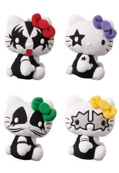 """Do you like Hello Kitty? Do you like KISS? Do you like MASHUPS? Done!  Scheduled for a May 2012-release is this quartet of KISS × HELLO KITTY mascot plush from Medicom Toy! Priced at ¥980 each (US$12+ = US$49-ish for all four?), they measure 115mm / 4.5"""" tall and features (it it has not dawned on you yet) the members of the rock band KISS! """"THE DEMON"""", """"THE STARCHILD"""", """"THE CATMAN"""" and """"THE SPACEMAN"""" each comes with a ball-chain - easy for dangling with …"""