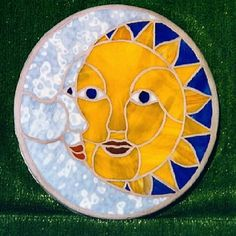 Sun-moon stepping stone - Impressive stone for your garden or patio