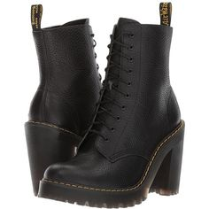 Dr. Martens Kendra 10-Eye Boot (Black Aunt Sally) Women's Boots ($160) ❤ liked on Polyvore featuring shoes, boots, ankle boots, black bootie, black leather boots, black bootie boots, short black boots and platform ankle boots