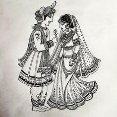 Another Indian Bride and Groom pattern I designed today for Bridal Henna Wedding Drawing, Wedding Painting, Wedding Dress Drawings, Wedding Symbols, Hindu Wedding Cards, Gift Wedding, Wedding Mehndi Designs, Mehndi Art Designs, Henna Designs Drawing