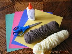 Yarn pictures: This activity is a simple exploration of abstract art and a fine motor exercise-not to mention practice using glue!  Yarn pictrures can be completed indoors or out, so if you have a beautiful day outside, take your supplies outdoors