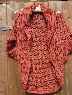 Labores de ganchillo: Diseños de boleros - Diseño de bolero de ganchillo en tono anaranjado