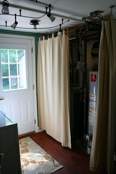 Pull curtain to hide furnace