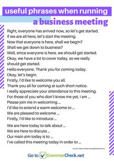Useful Phrases When Running a Business Meeting Improve English Speaking, Learning English For Kids, Learn English Grammar, English Writing Skills, English Vocabulary Words, English Phrases, Academic Writing, English Language, Email Writing