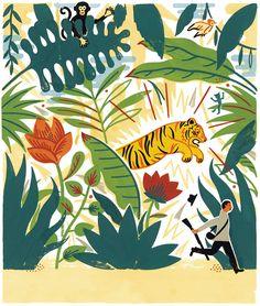 Illustration from 'Dans la forêt des masques / In the forest of masks' by Laurent Moreau – published by Hélium éditions
