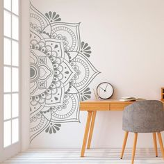Mandala in Half Wall Sticker Decor for Home Removable Vinyl Sticker for Meditation Yoga Wall Art Living Room Bedroom Mural Decoration Stickers, Wall Decor Stickers, Vinyl Wall Decals, Vinyl Decor, Bedroom Murals, Bedroom Wall, Bedroom Headboards, Master Bedroom, Half Walls