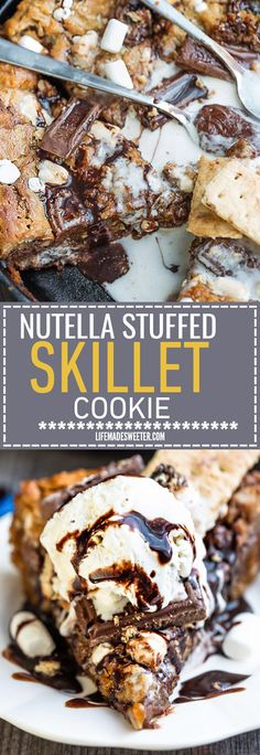 Flourless Nutella Stuffed S'mores Skillet Cookie {Pizookie} is the perfect treat to enjoy the classic flavor of s'mores without the campfire. A soft and chewy cookie dough with an ooey gooey Nutella stuffed filling! Best of all, it's so easy to make in just ONE bowl with no mixer required! Serve with a scoop of ice cream for the best dessert!