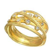 Barbara Heinrich Handmade Multi Wrap Diamond Matte Gold Band Ring | From a unique collection of vintage band rings at https://www.1stdibs.com/jewelry/rings/band-rings/
