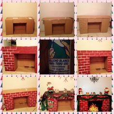 DIY Cardboard Fireplace                                                                                                                                                                                 More