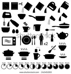 vector set icons cooking manual instructions - stock vector