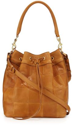 Saint Laurent Medium Patchwork Bucket Bag, Light Cognac