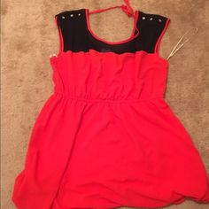 Navy red and blue dress F21+ This red and navy dress is accented with jewelry at the shoulders, and a nice bare spot and strings in the back. Great for family gatherings or a first date. Worn and washed once. Bottom of dress hits around the knee (im 5'4'') Forever 21 Dresses