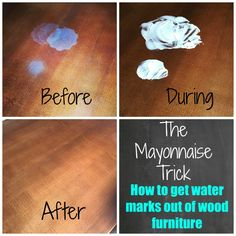 How to get get water stains out of your wood furniture. How to get get water stains out of your wood furniture. The post How to get get water stains out of your wood furniture. appeared first on Wood Diy. Deep Cleaning Tips, House Cleaning Tips, Spring Cleaning, Cleaning Hacks, Cleaning Products, Cleaning Recipes, Cleaning Solutions, All You Need Is, Water Stain On Wood