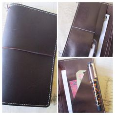 Custom order extra tall personal size Midori style traveler's notebook designed to accommodate a Hobonichi Weeks planner in the back pocket. This is double choc leather with Italian kid leather pockets. Etsy: bypaperflower #bypaperflower #midori #fauxdori #Glendori #hobonichi #fauxbonichi #planner #journal