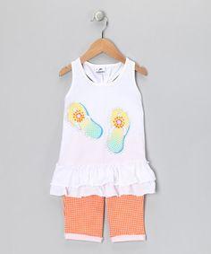 Loving this White & Orange Flip-Flop Tunic & Pants - Infant & Toddler on #zulily! #zulilyfinds