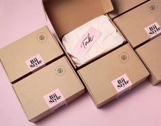 Packaging concept: Product shipment for RiiStyle Brownie Packaging, Bakery Packaging, Food Packaging Design, Soap Packaging, Packaging Ideas, Glossier Packaging, Branding Design, Packaging Stickers, Custom Packaging Boxes
