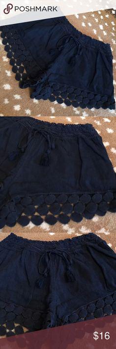 Aerie Navy Shorts Aerie Navy Shorts. 54% cotton/ 46% viscose. Elastic and drawstring tie waist. Cute appliqué trim. Adorable! aerie Shorts