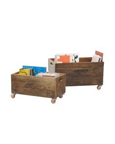 Rolling Storage Crates – Natural  We love these as rolling book carts, toy bins, or catchalls for odds and ends. The smallest size can even fit under most beds (the perfect clutter buster). Made by hand with subtle distressing for vintage style, no two are exactly alike. Detailed with cutout handles and casters.Crafted of solid wood.Cutout handles.Natural has orange casters and one of four stencils, chosen at random: Soft Drinks, Lemonade, Super Seven, or White Star. Imported.Small:..