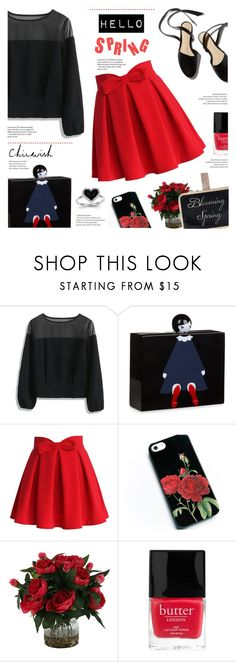 """""""Chicwish : Top In Black"""" by viebunny ❤ liked on Polyvore featuring Chicwish, Lulu Guinness, Butter London, Kevin Jewelers, chicwish, chicstyle and redblack"""